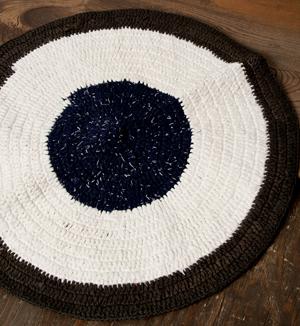 インドのコットン手織りラグマット まる型【ランダムパターン】の個別写真