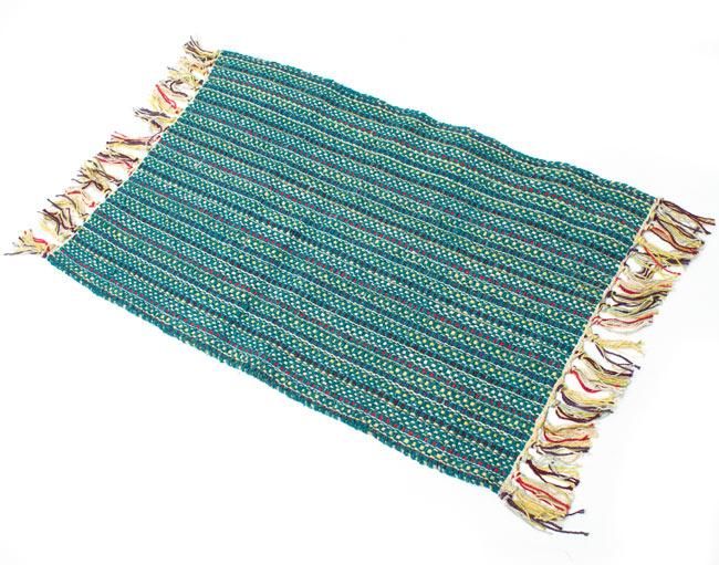 インドコットンの手織りラグマット【約65cm×約42cm】 - ピーコックブルーの写真