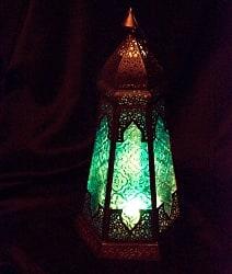【39cm】モロッコスタイル スタンド型LEDキャンドルランタン【ロウソク風LEDキャンドル付き】
