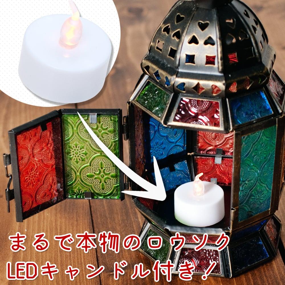 【18cm】スタンド型LEDキャンドルランタン【ロウソク風LEDキャンドル付き】の説明画像