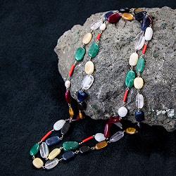 ルドラクシャとナブラタン(9つの宝石)のネックレス