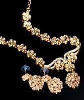 インド伝統アクセサリー シンプルラインストーンのネックレス&ピアスセット