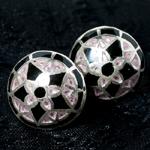 [シルバー925]ムガルのシルバーピアス[丸形(1.5cm)] - 黒×青×ピンク系の個別写真
