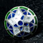 [シルバー925]ムガルのシルバーピアス[丸形(1.5cm)] - 黒×青×緑系の個別写真