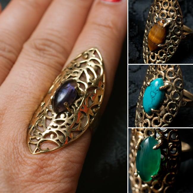 インドの伝統更紗デザイン オーバル天然石リング