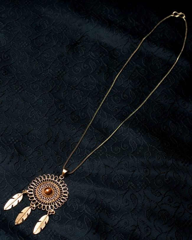 ドリームキャッチャー天然石ペンダント【チェーン付】2-全体写真です。こちらの金属紐も付属いたします。\