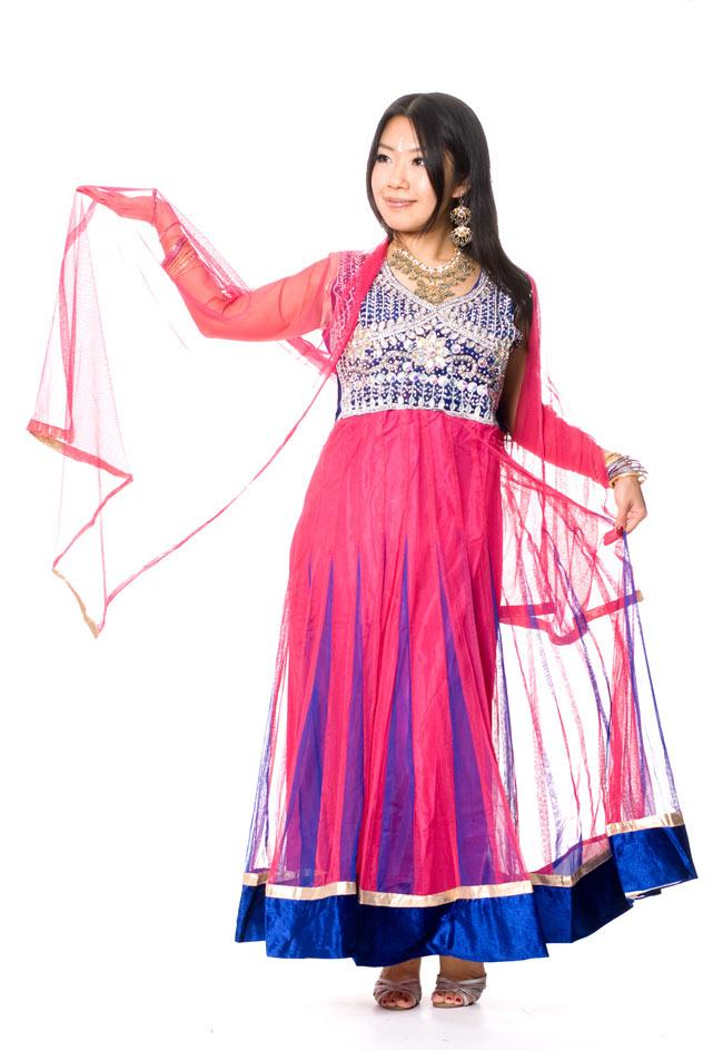 パンジャビ・ドレス3点セット - ネイビー×ピンク