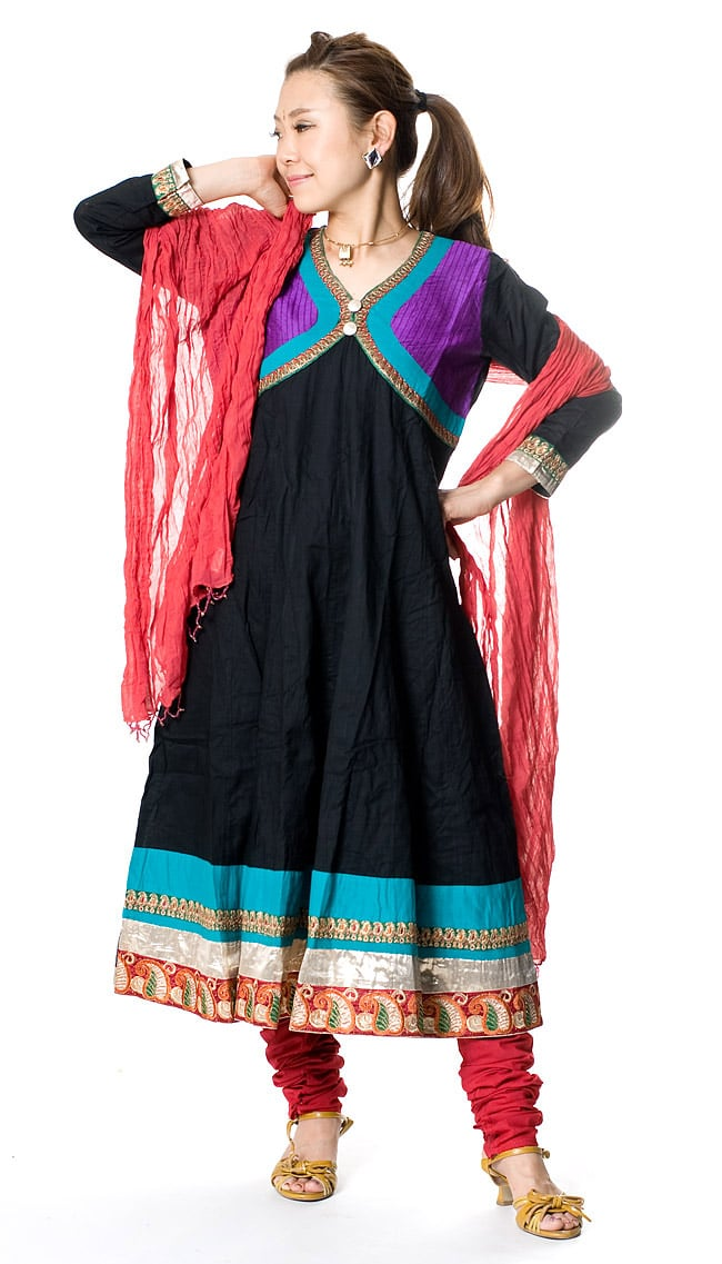 パンジャビ・ドレス3点セット - ブラック