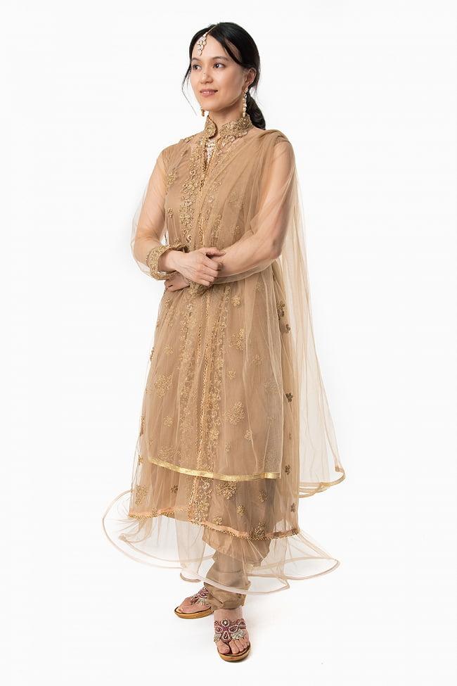 インドのゴージャスパンジャビ・ドレスセット2-上下セットにショールが付属します。\