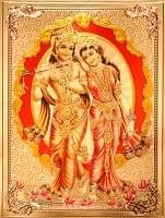 〔約40cm×約30cm〕インドのヒンドゥー神様ゴールドポスター - クリシュナとラーダ