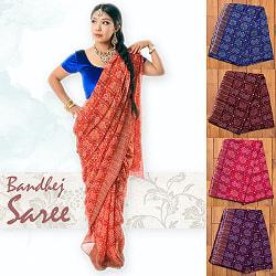 【8色展開】インド伝統模様バンディニプリントのインドサリー