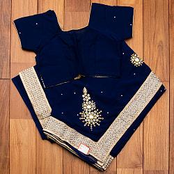 刺繍とビジューの婚礼用ゴージャス ジョーゼットサリー【チョリ付き】の個別写真