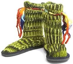 ネパールのニット・ブーツ 【グリーン・斑】の写真