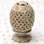 花とつる草 - ソープストーン卵形キャンドル&お香スタンドの個別写真