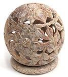 花モチーフ - ソープストーン丸形キャンドル&お香スタンドの個別写真