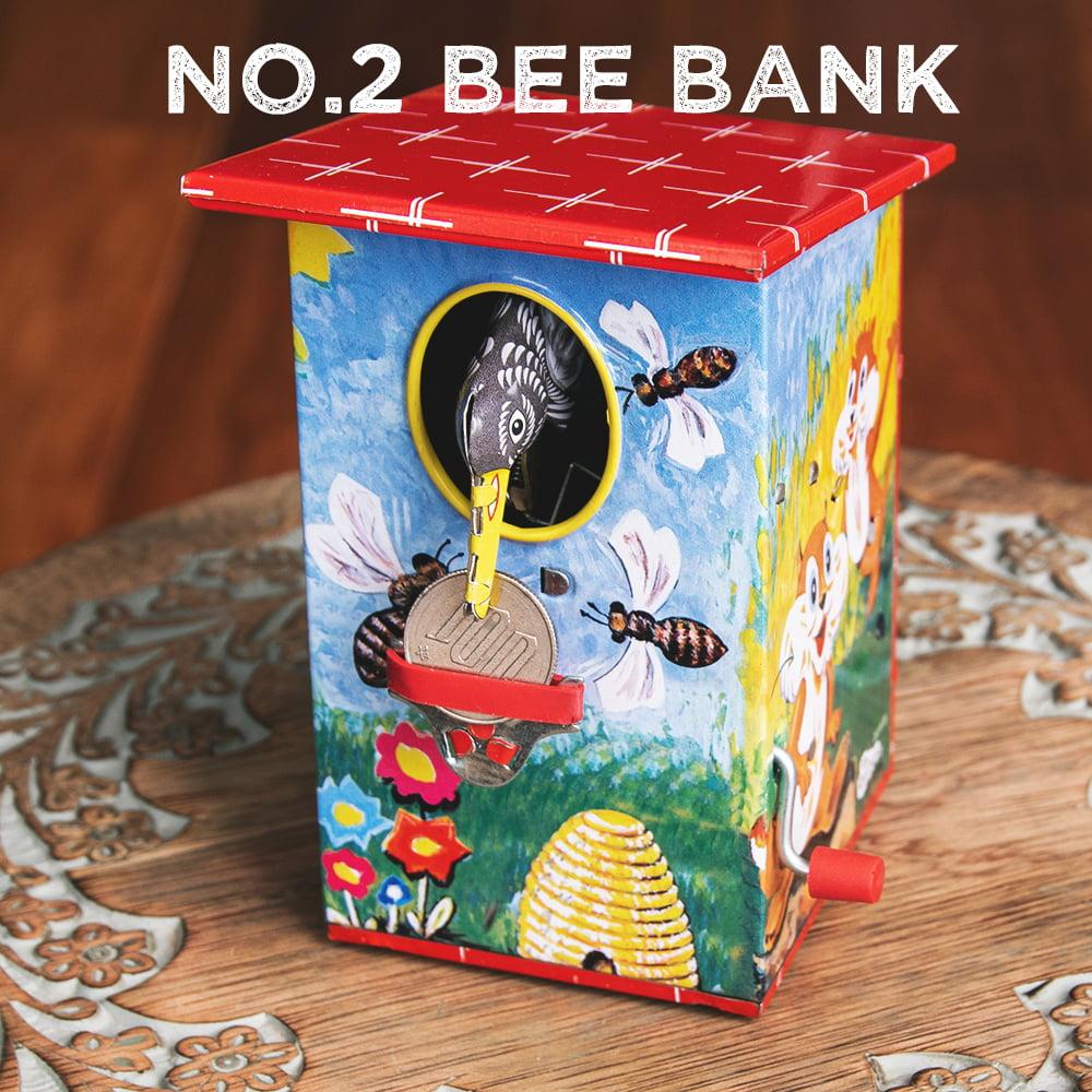 楽しく貯金!鳥さん貯金箱 インドのレトロなブリキのおもちゃの個別写真
