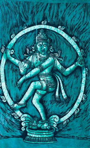 [小サイズ]バティック染めのタペストリー風神様布 - ナタラジ(ダンシングシヴァ)[約50x85cm]の個別写真