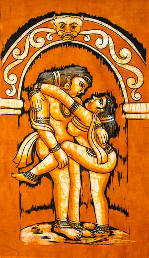 [小サイズ]バティック染めのタペストリー風神様布 - カーマ・スートラ[約50x85cm]の個別写真