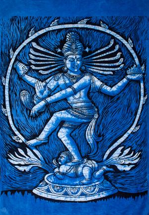 [大サイズ]バティック染めのタペストリー風神様布 - ナタラジ(ダンシングシヴァ)[約85x130cm]の個別写真