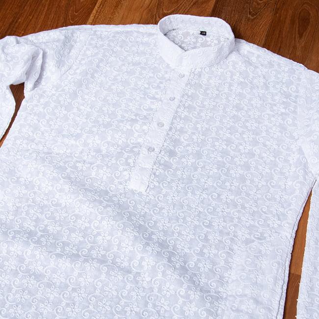 ラクノウ刺繍入り ホワイトクルタ・パジャマ上下セット インドの男性民族衣装の選択用写真