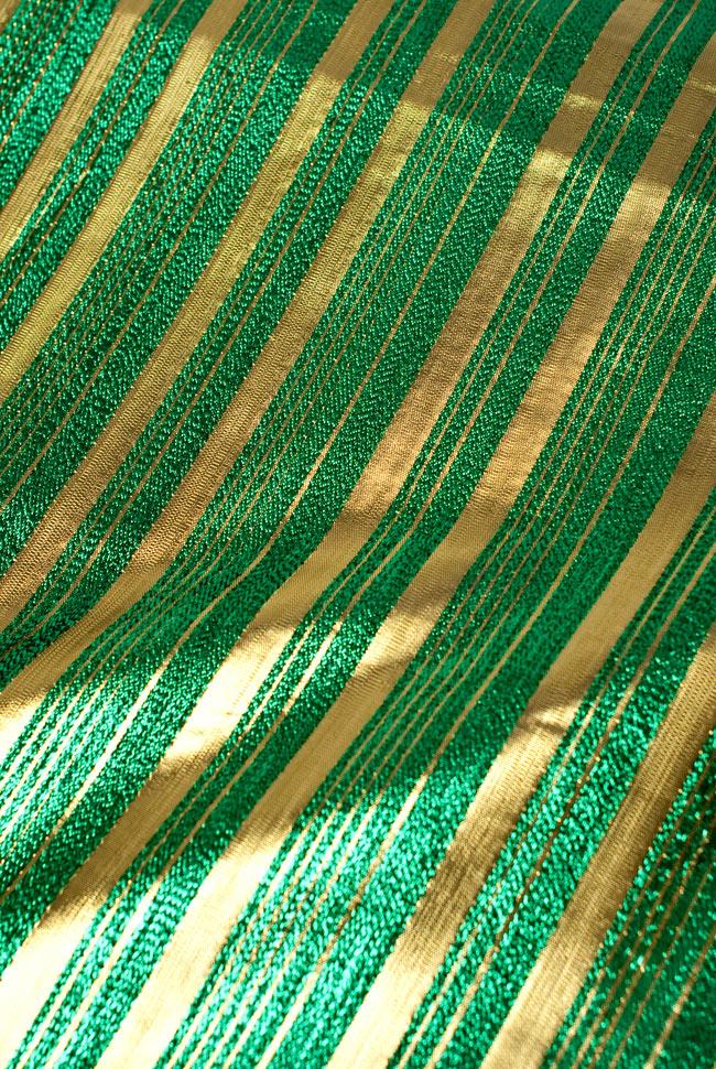 〔1m切り売り〕インドの伝統模様布 - ボーダー柄 緑×金〔幅104cm〕の写真
