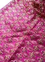 〔50cm切り売り〕刺繍とスパンコールクロス〔幅約110cm〕 - 赤紫