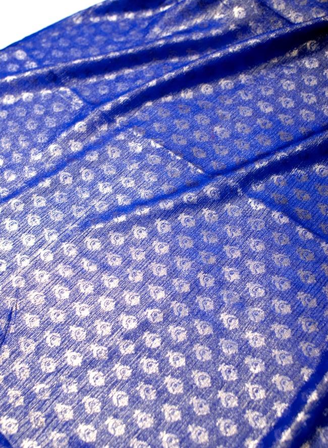 〔1m切り売り〕グリッターボタニカルのサテン楊柳布〔幅約113cm〕 - 青紫