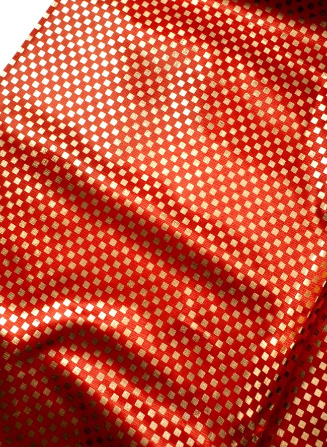 〔1m切り売り〕市松模様ゴールドプリント光沢布〔幅約105cm〕 - 朱色の写真
