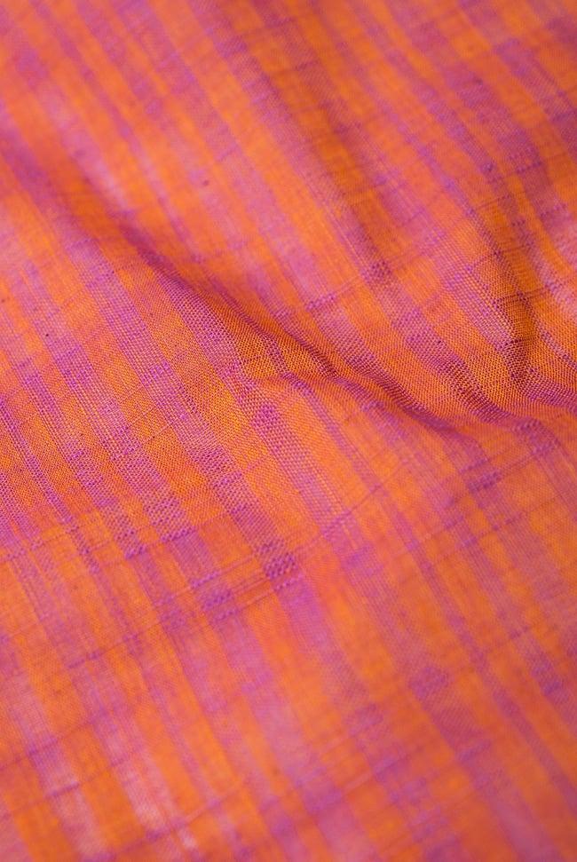 〔1m切り売り〕南インドのストライプ布 - オレンジ×ピンク 〔幅約110cm〕