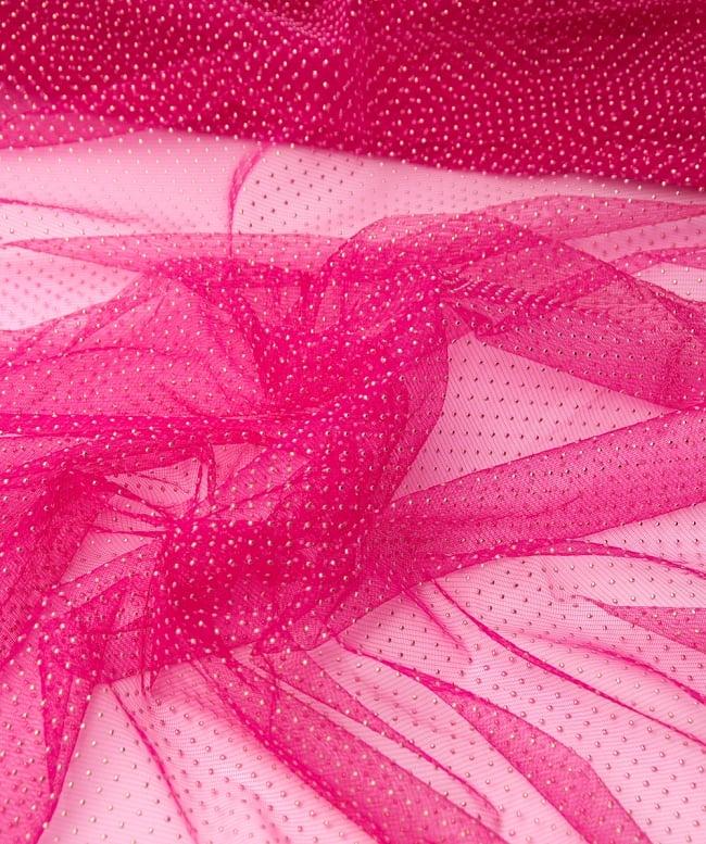 〔1m切り売り〕ゴールドドットプリントのメッシュ生地布〔106cm〕 - ピンクの写真2-拡大写真です。独特な雰囲気があります。\