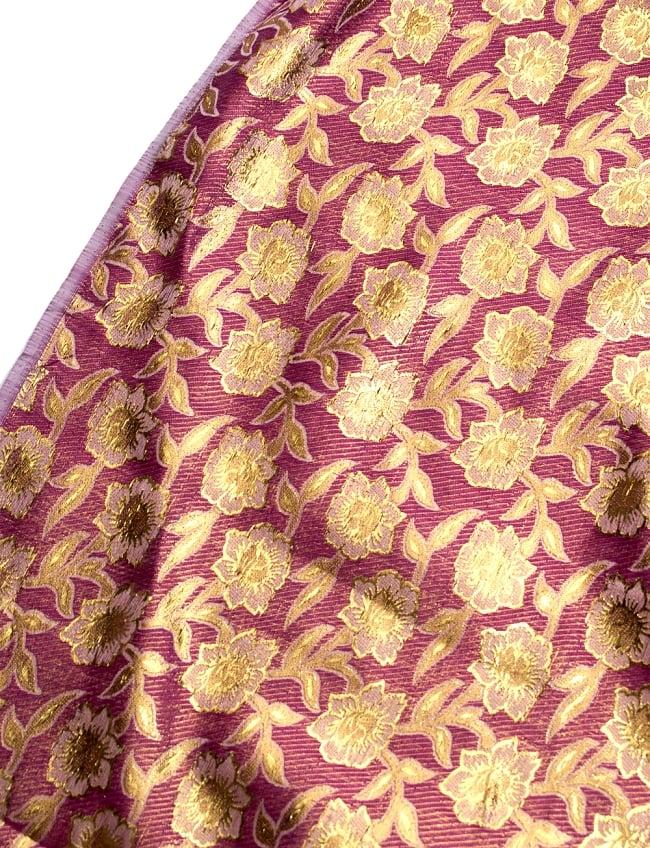 〔1m切り売り〕インドの金糸入り伝統模様布〔103cm〕 - パープル