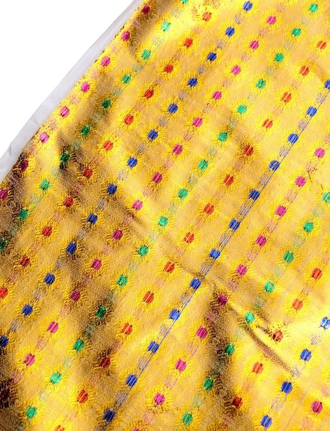 〔1m切り売り〕インドの金糸入り伝統模様布〔102cm〕 - イエロー