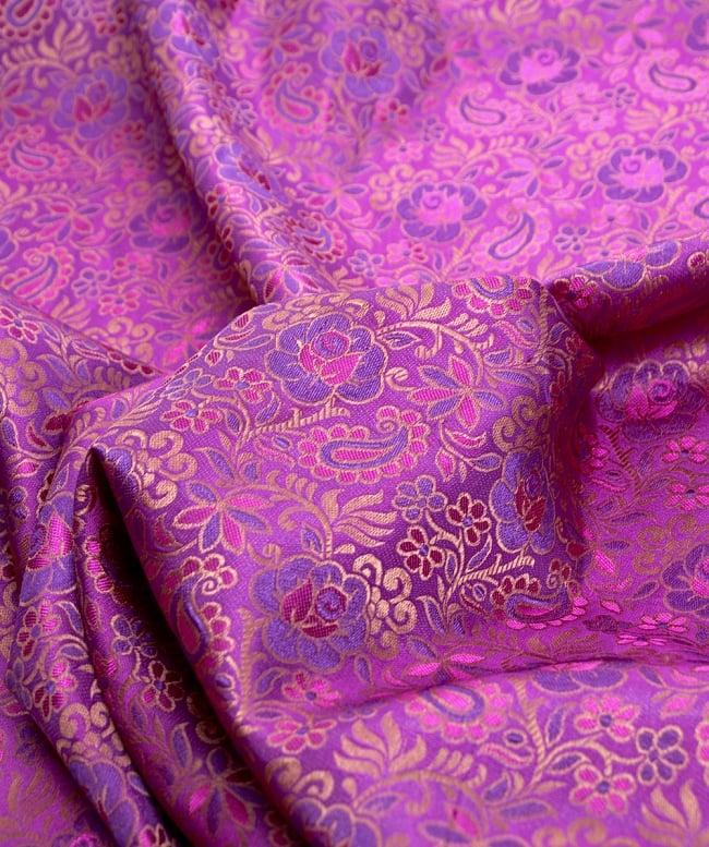 〔1m切り売り〕インドの伝統模様布〔114cm〕 - 赤紫の写真2-拡大写真です。独特な雰囲気があります。\