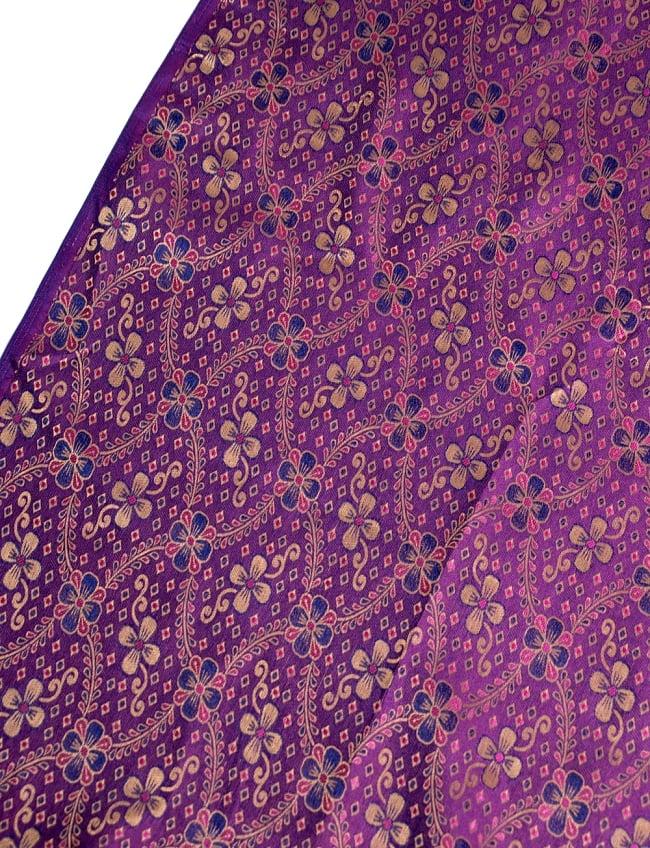 〔1m切り売り〕インドの伝統模様布〔113cm〕 - パープルの写真