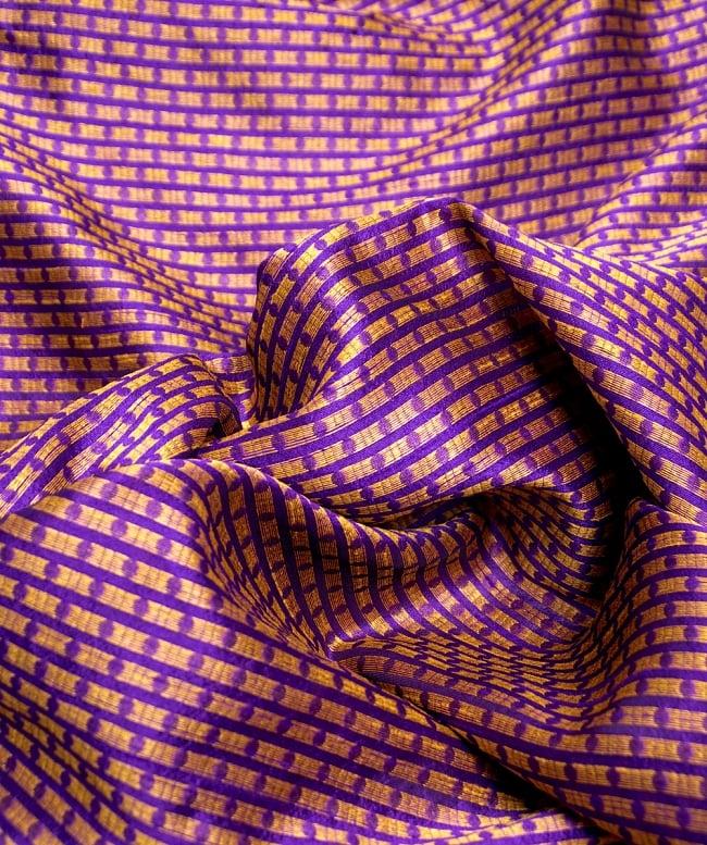 〔1m切り売り〕インドの伝統模様布〔112cm〕 - パープルの写真2-拡大写真です。独特な雰囲気があります。\