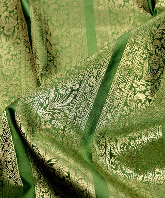 〔1m切り売り〕インドの伝統模様布〔111cm〕 - 緑系の写真2-拡大写真です。独特な雰囲気があります。\