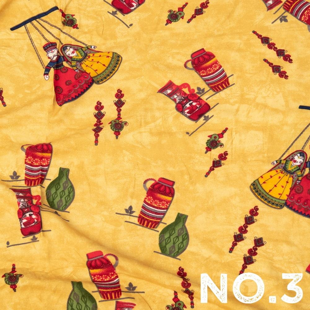 〔1m切り売り〕インドの伝統と不思議が融合 おもしろデザイン布〔109cm〕 - カトプトリ ラジャスタンの操り人形の個別写真