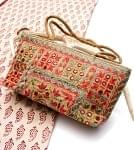ラジャスタン刺繍ミラー付きバッグ - ベージュ