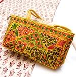 ラジャスタン刺繍ミラー付きバッグ - 黄色