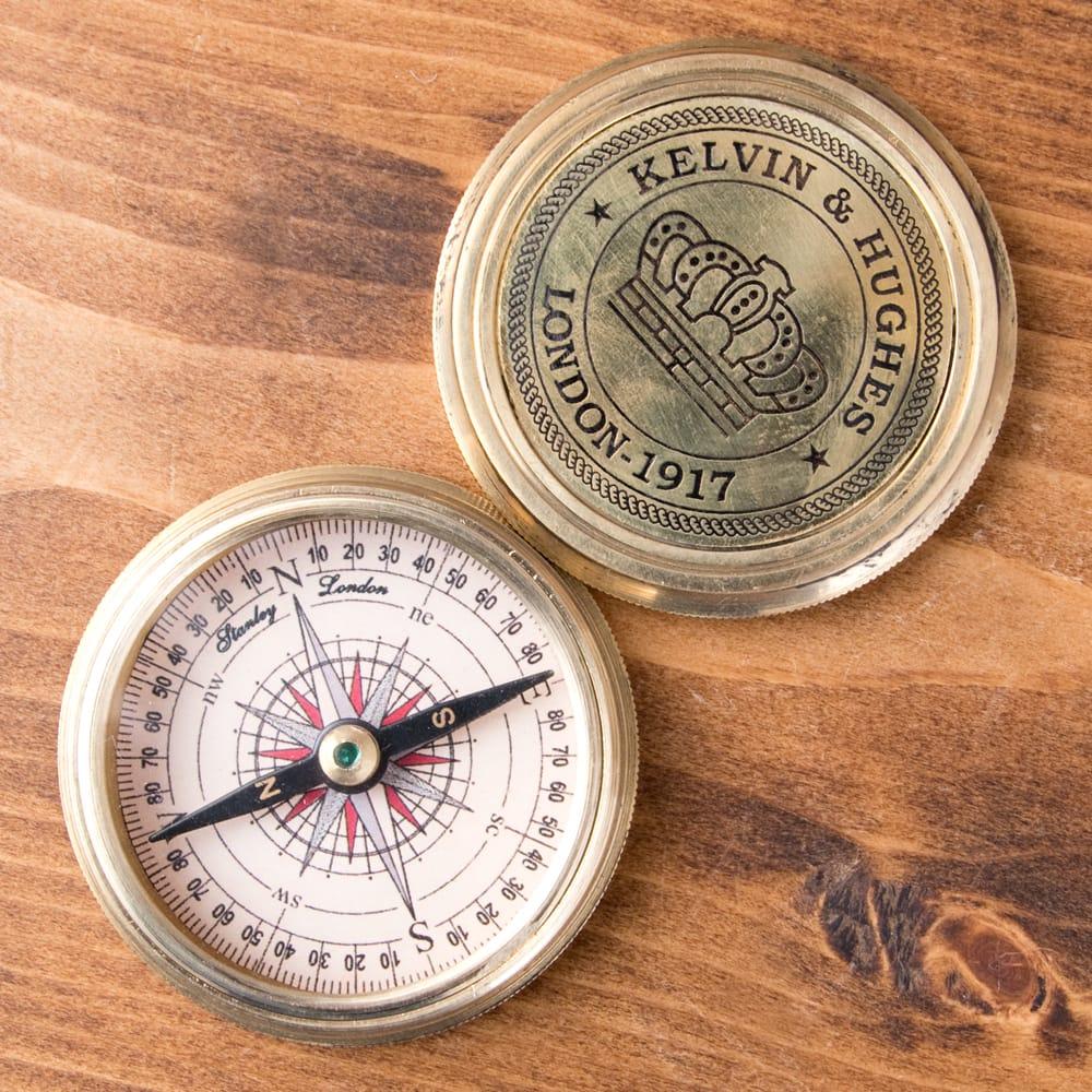 【直径約5.5cm】大英帝国時代のゴールドアンティークコンパス[蓋付き] - KELVIN & HUGHESの個別写真