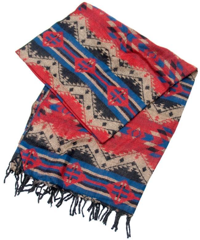 【大判】伝統ダッカ織りデザインのストール2-綺麗な伝統模様がデザインされています\