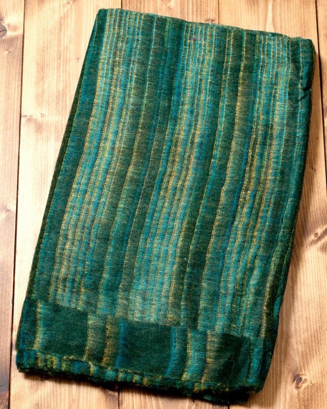 〔210cm×100cm〕インドのふわふわボーダー柄大判ショール - 濃緑系