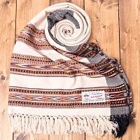 〔224cm×96cm〕ヒマラヤ山麓のクル地方伝統の大判ショール - ライトベージュの個別写真