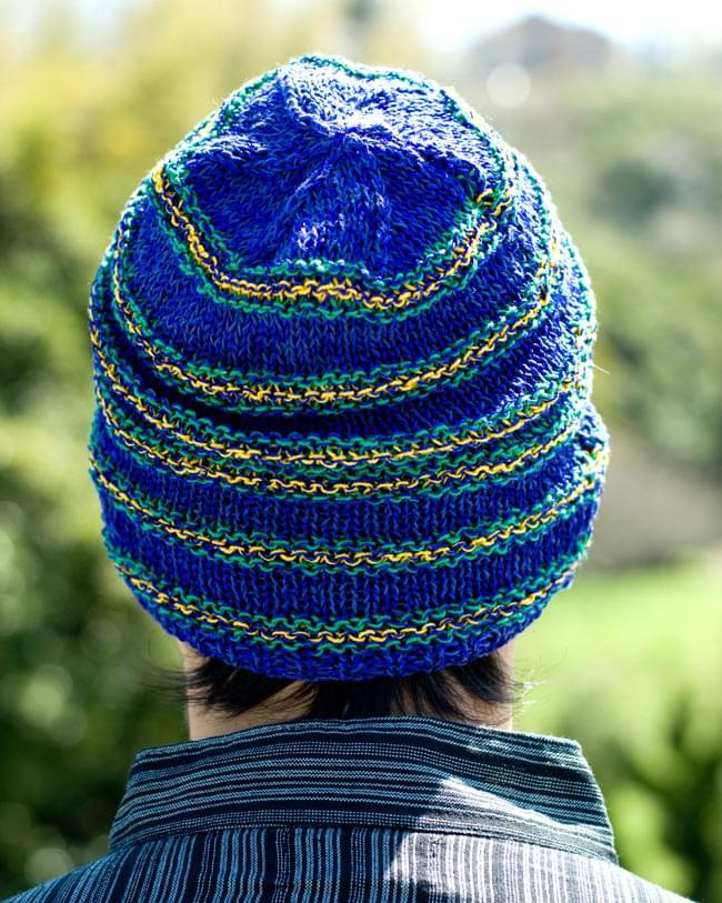 コットンとアートシルクのボーダーニット帽 【青】2-後ろから撮ってみました。\