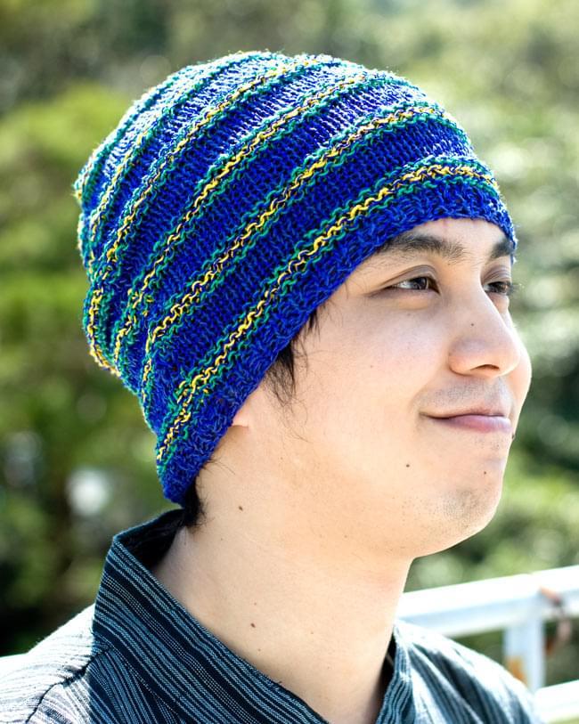 コットンとアートシルクのボーダーニット帽 【青】