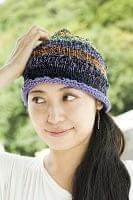 コットンのボーダーニット帽 【紫系】の個別写真