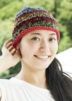 コットンのボーダーニット帽 【赤系】の個別写真