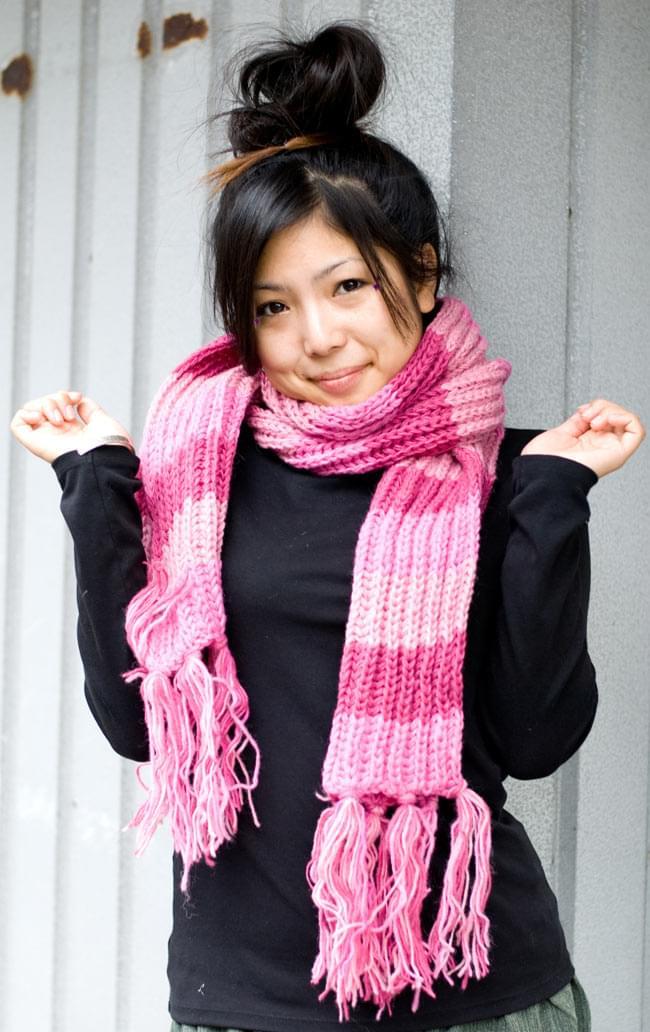 カラフルボーダーレトロマフラー 【ピンク系】