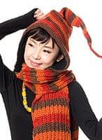帽子付きカラフルボーダーマフラー 【オレンジ×茶】の個別写真