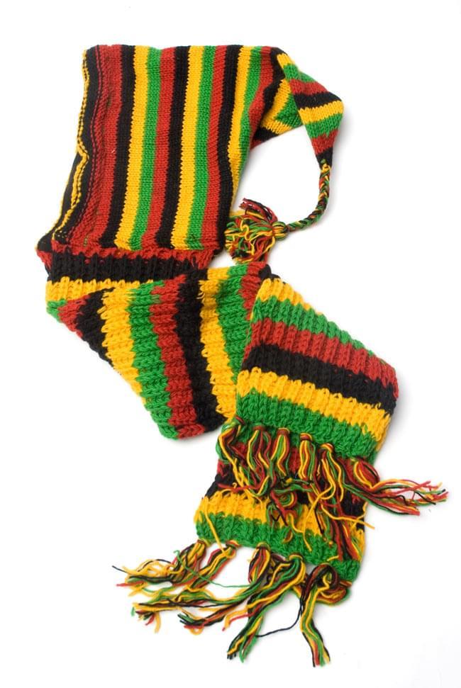 帽子付きカラフルボーダーマフラー 【ラスタ】の写真2-全体像です。ざっくり編みがレトロでいい感じです♪\